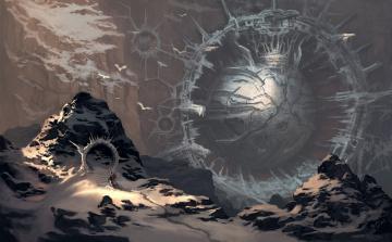 обоя фэнтези, иные миры,  иные времена, шар, человек, сфера, портал, горы, арт, снег, сооружение