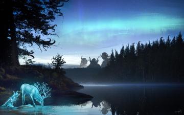 обоя фэнтези, иные миры,  иные времена, животное, существа, отражение, арт, рога, фантастика, лес, олень, вода, озеро, деревья