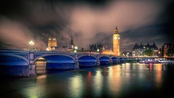 обоя города, лондон , великобритания, мост, вечер, река