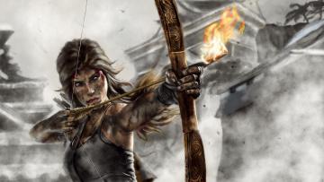 Картинка видео+игры tomb+raider+2013 стрела огонь лук взгляд фон девушка