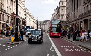 обоя города, лондон , великобритания, автобус, улица, такси
