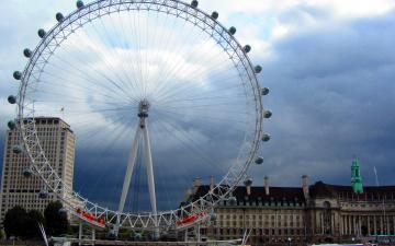 обоя города, лондон , великобритания, обозрения, колесо