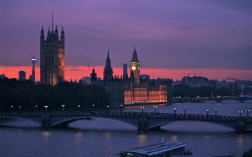 обоя города, лондон , великобритания, река, фонари, вечер, мост