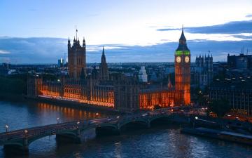 обоя города, лондон , великобритания, вечер, мост, река