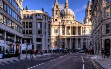 обоя ludgate hill, st pauls cathedral, города, лондон , великобритания, st, pauls, cathedral, ludgate, hill