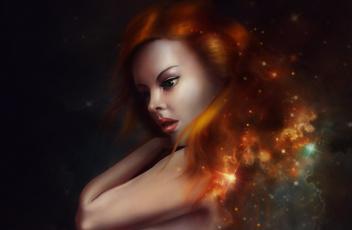 Картинка фэнтези девушки вселенная волосы рыжая взгляд арт звезды лицо девушка