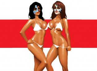 обоя рисованное, комиксы, купальник, взгляд, фон, девушки, маска