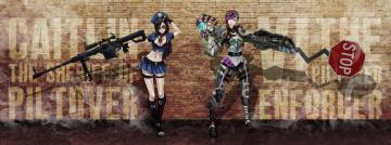 обоя рисованное, комиксы, девушки, фон, взгляд, униформа, оружие