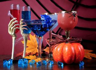 обоя праздничные, хэллоуин, коктейли, тыква, бокалы
