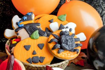 обоя праздничные, хэллоуин, корзинка, печенье