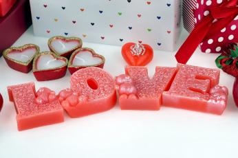 обоя праздничные, день святого валентина,  сердечки,  любовь, свечи, надпись, сердечки