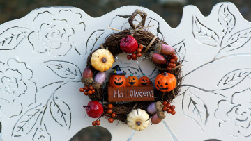 обоя праздничные, хэллоуин, венок, надпись