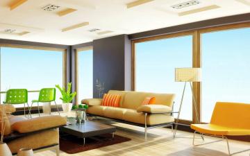 обоя интерьер, гостиная, окна, стол, стулья, диваны