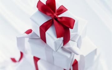 обоя праздничные, подарки и коробочки, бант, лента