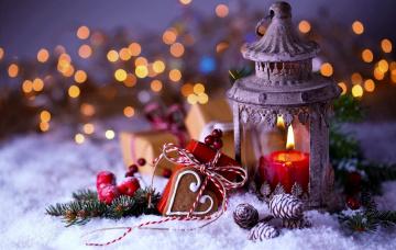 обоя праздничные, новогодние свечи, фонарь, шишки, свеча