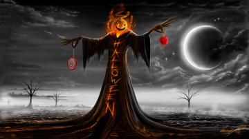 Картинка праздничные хэллоуин ночь тыква надпись halloween луна