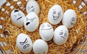 Картинка еда Яйца лица сено яйца корзина