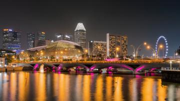 обоя города, сингапур , сингапур, мост, огни, ночь