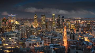 обоя montreal, города, монреаль , канада, огни, ночь