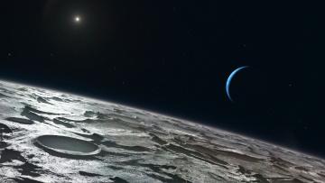 обоя triton, космос, спутники нептуна, планета, поверхность, грунт, снимок, фотография, атмосфера
