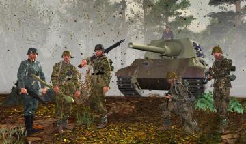 обоя 3д графика, армия , military, танк, солдаты