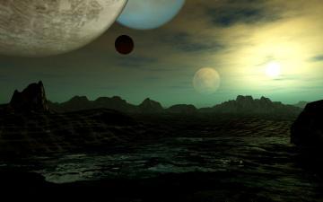 обоя 3д графика, атмосфера, настроение , atmosphere ,  mood , вселенная, планеты, поверхность