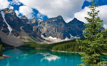 обоя природа, горы, у, озера, в, национальном, парке, джаспер, канада