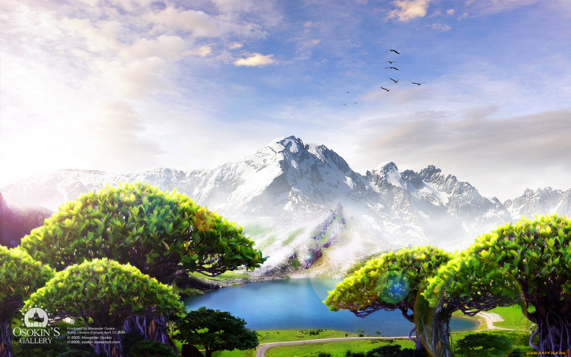 графика природа деревья горы дом  № 3243640 без смс