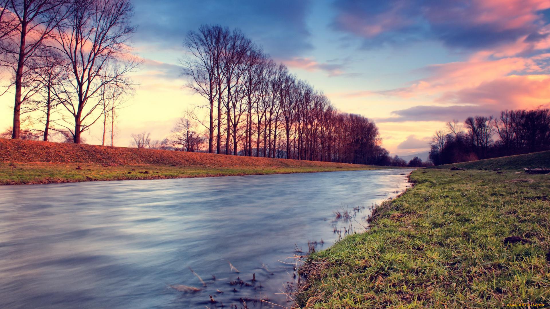 природа HDR река деревья  № 257344 бесплатно