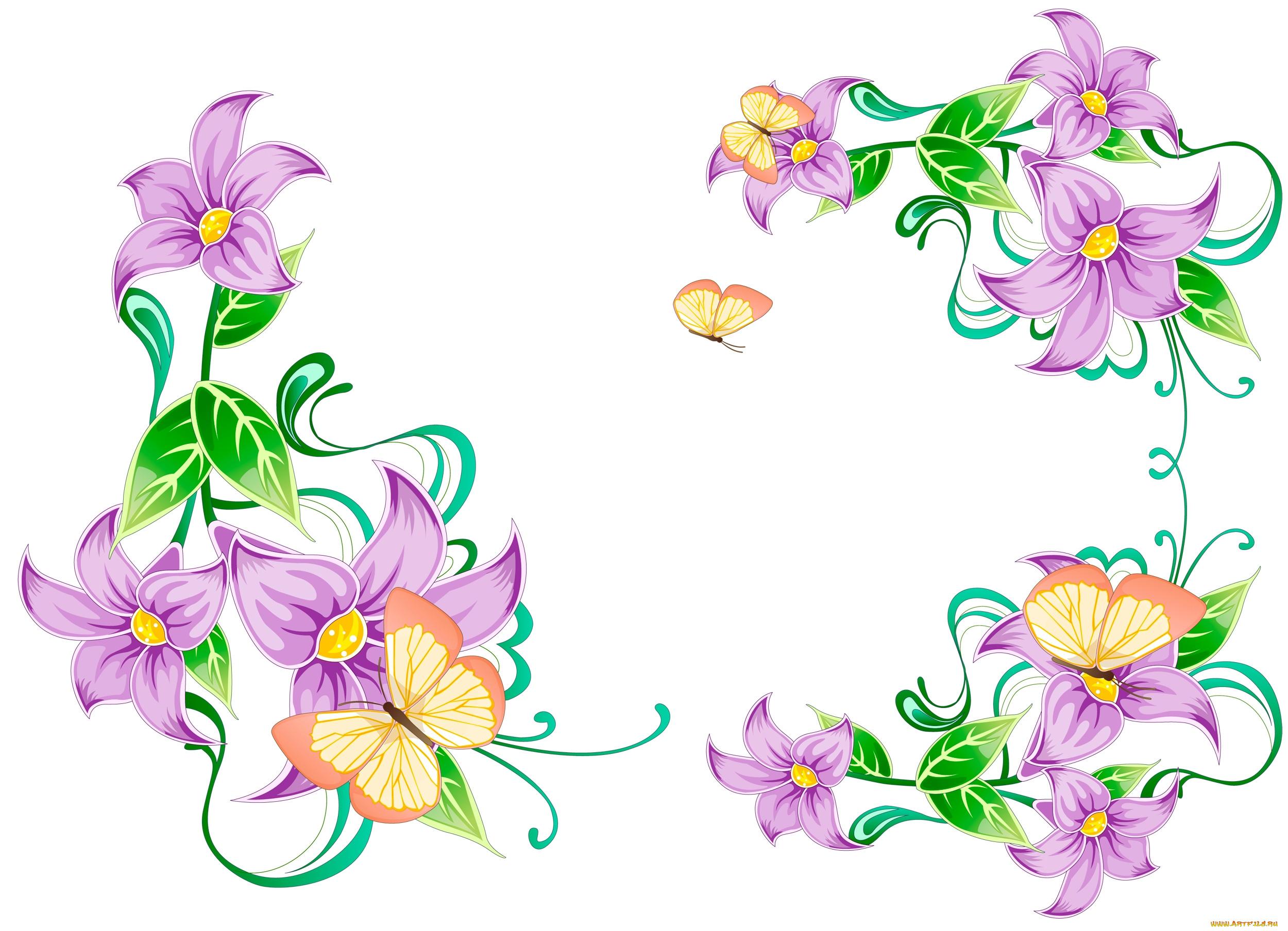 Днем рождения, векторные картинки цветы и бабочки
