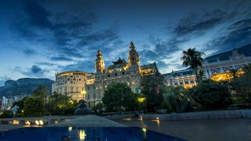 Картинка города монте-карло+ монако ночь огни фонтан monaco дома monte carlo