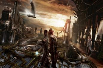 Картинка фэнтези девушки сооружения люди будущее мир иной