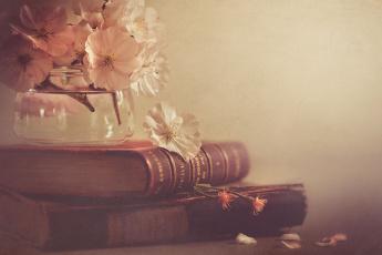 обоя разное, канцелярия,  книги, стиль, цветы, банка, книги