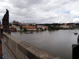 обоя города, прага , Чехия, мост, река, теплоходы