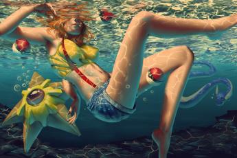 обоя рисованное, люди, фон, девушка, вода