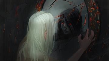 обоя фэнтези, демоны, девушка, трещины, отражение, зеркало, демон