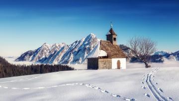 обоя города, - католические соборы,  костелы,  аббатства, снег, горы