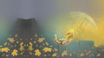 обоя рисованное, животные,  коты, зонтик, листья, осень, настроение, ветер, котик, арт, полёт