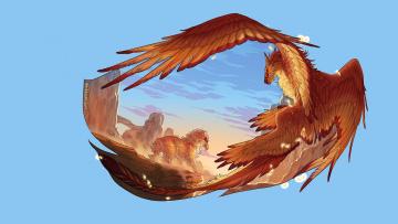обоя рисованное, животные,  сказочные,  мифические, фентези, крылья, арт
