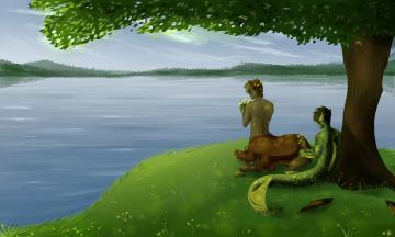 обоя рисованное, комиксы, озеро, существа, фон