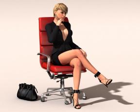 Картинка 3д графика people люди девушка кресло