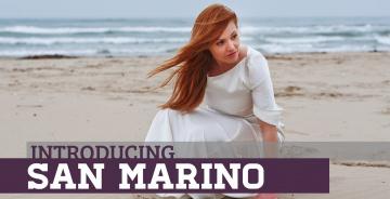 Картинка музыка евровидение певица сан-марино valentina monetta платье рыжеволосая песок пляж море