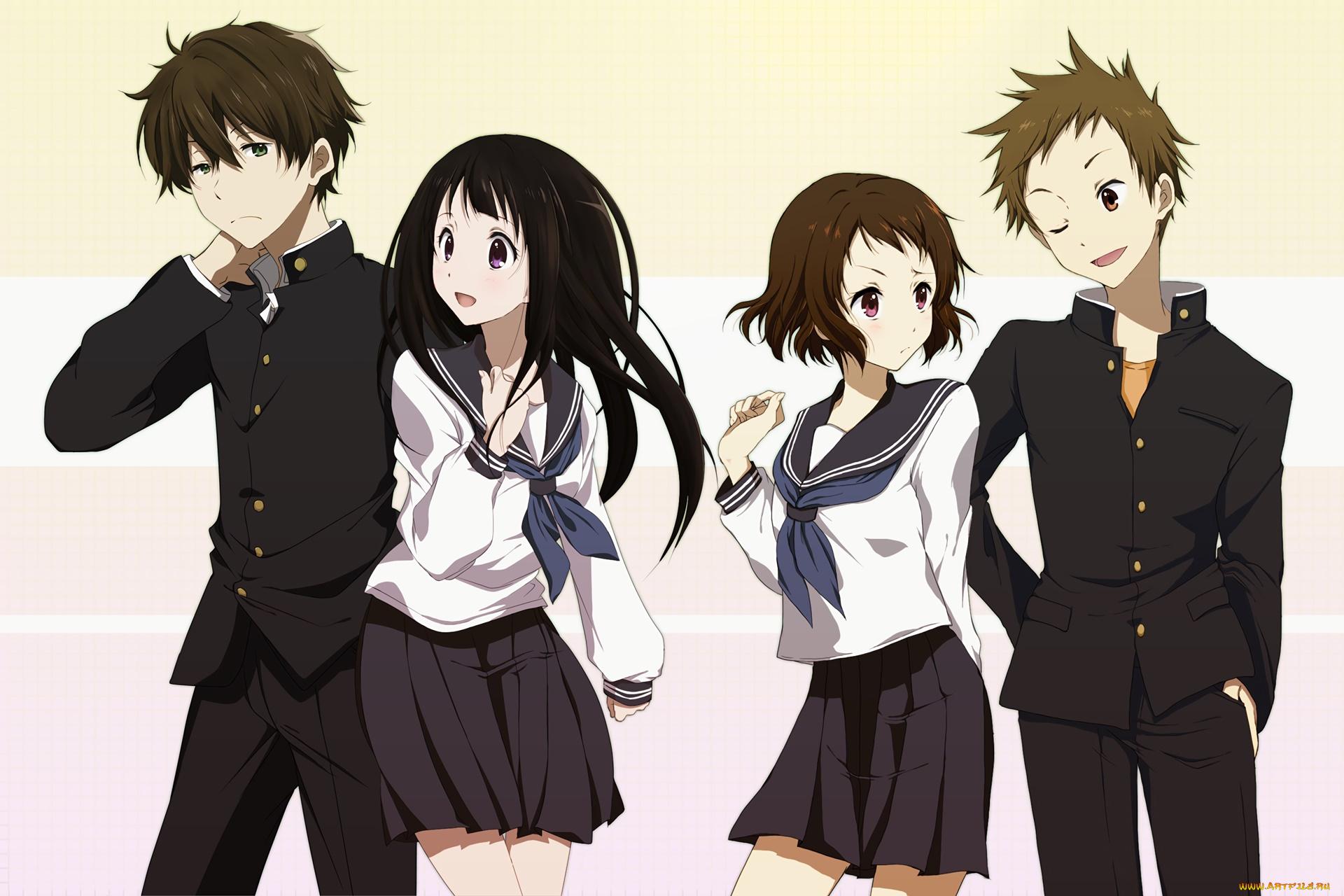 Две девушки и парень аниме картинки