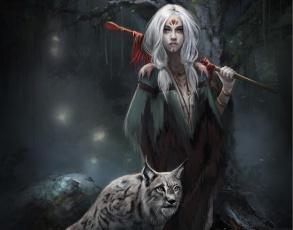 Картинка фэнтези девушки фантастика арт девушка взгляд кошка рысь