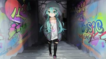 Картинка аниме vocaloid граффити девочка