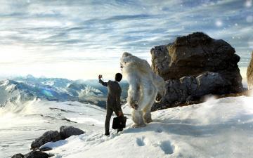 обоя юмор и приколы, селфи, снежный, человек, йети, бизнесмен, портфель, горы