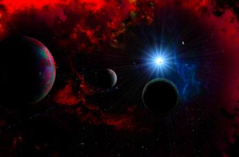 обоя космос, арт, вселенная, планеты, галактика, звезды