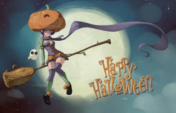 обоя праздничные, хэллоуин, девушка, фон, взгляд, полет, тыква, метла, привидение