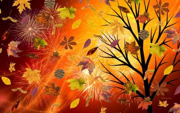 обоя векторная графика, природа , nature, осень, салют, деревья, фон, листья