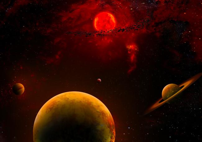 Обои картинки фото космос, арт, галактика, звезды, вселенная, планеты